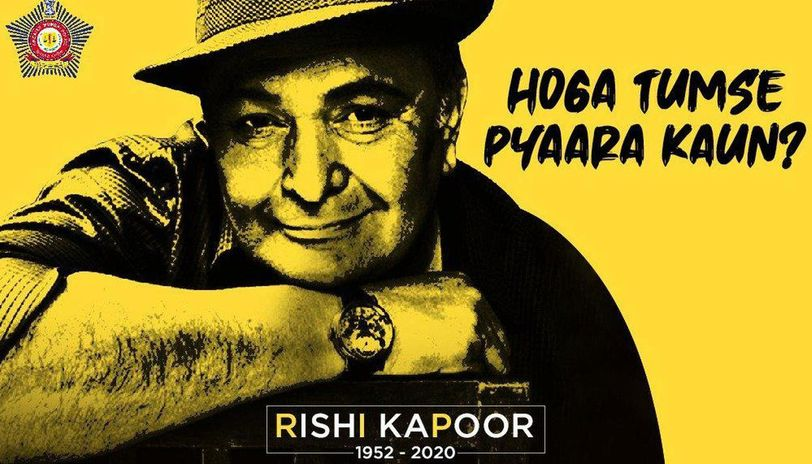 Mumbai Police's heartfelt tribute to Rishi Kapoor leaves netizens teary-eyed