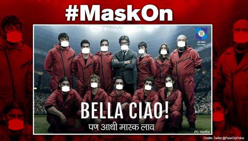 'Bella ciao!': Pune police urges people to wear masks with 'Money Heist' poster