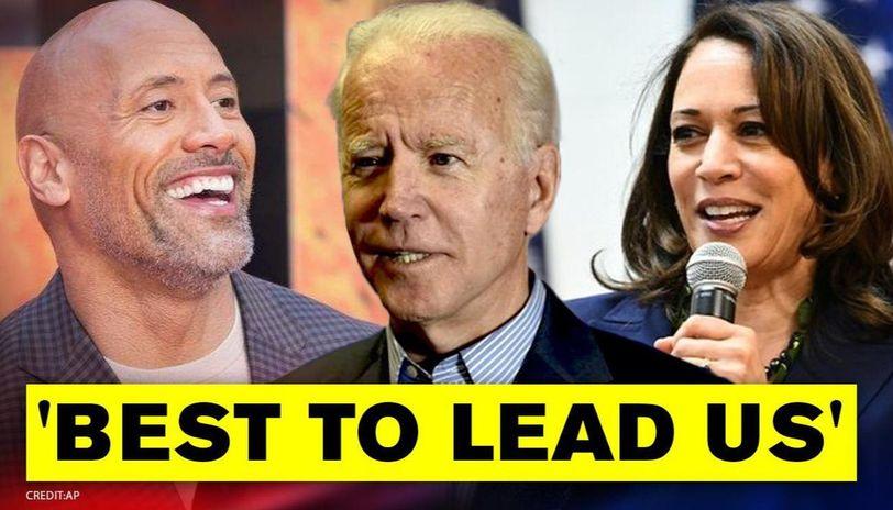 Us Polls 2020 Dwayne Johnson Proudly Endorses Joe Biden Kamala Harris