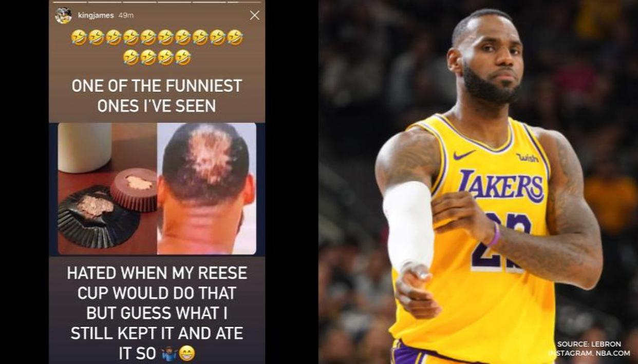 LeBron James reacts to his famous bald spot-Reese Cup meme ...