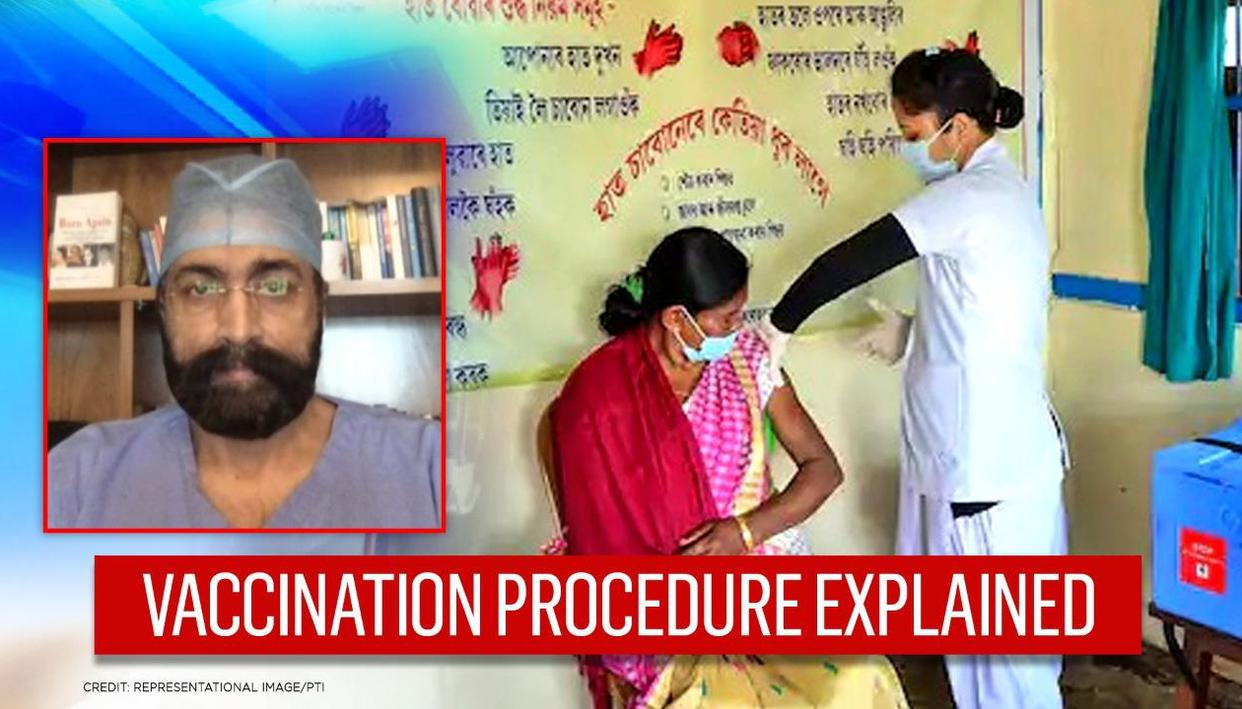 Doctor explains vaccine process; 'jab in upper arm, then 30 mins monitoring' and more