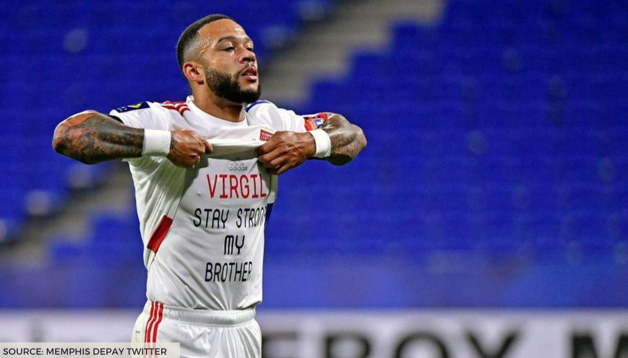 Lyon striker Memphis Depay sends out warm message to Van Dijk after scoring in Ligue 1 - Republic World