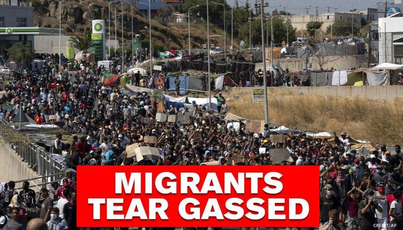 Moria Migrants: Protesters demanding 'freedom' tear gassed by police