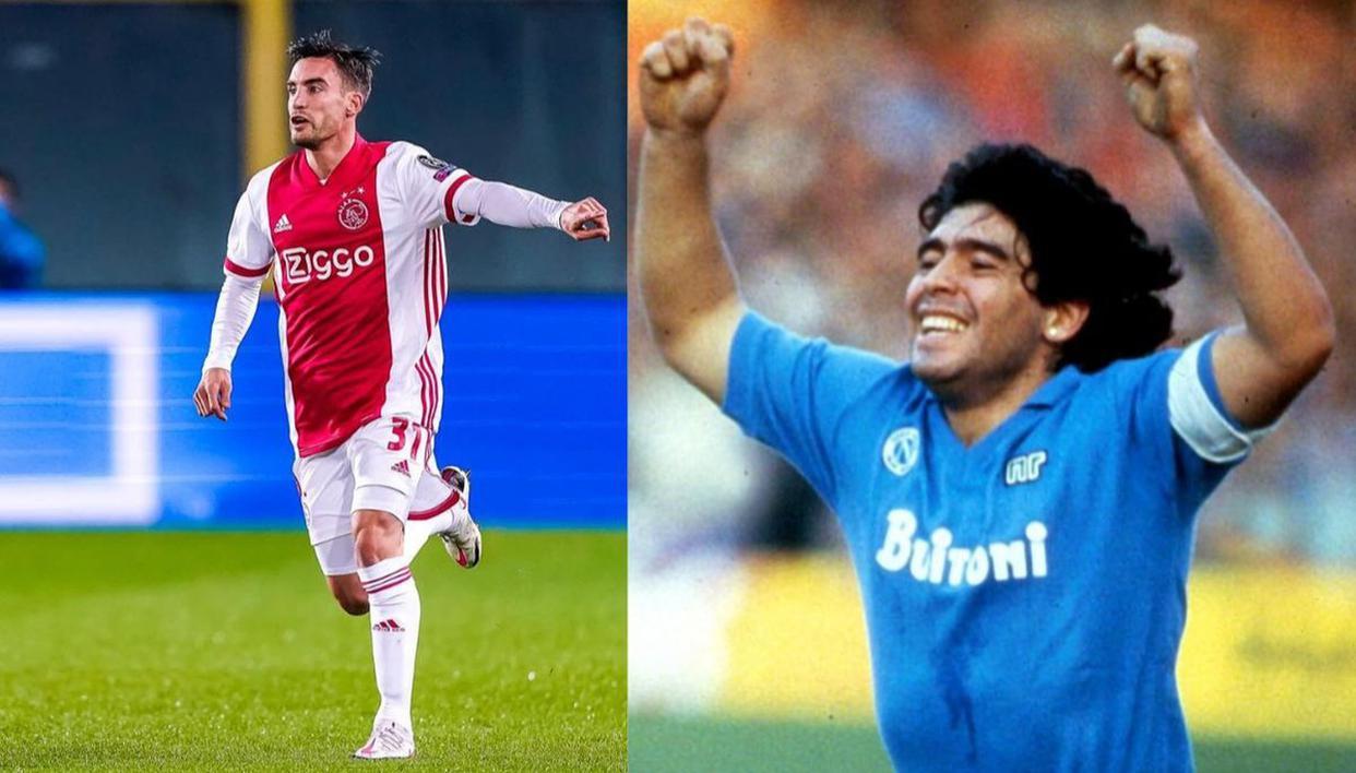 Ajax's Tagliafico imitates Diego Maradona's iconic 1989 UEFA Cup semi-final warm-up