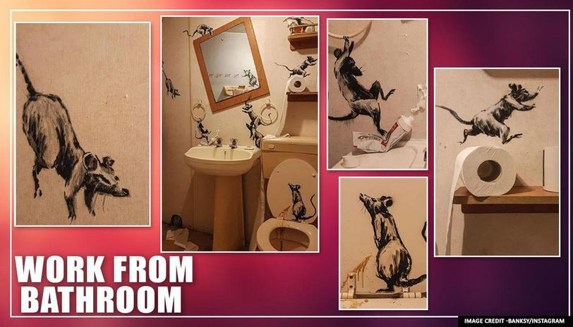 Banksy unveils his latest 'rat-infested' art as he work from bathroom amid lockdown