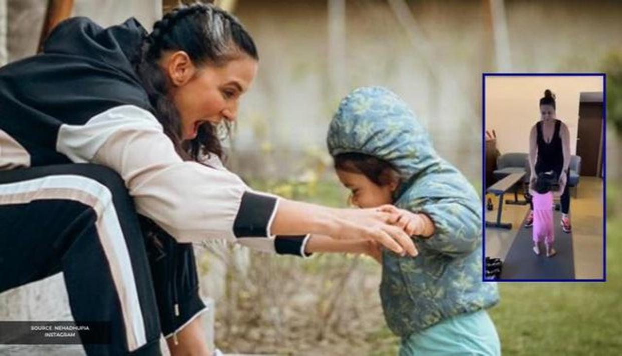 """Neha Dhupia's """"werk from home"""" video with daughter Mehr Dhupia Bedi is too adorable; WATCH - Republic World"""