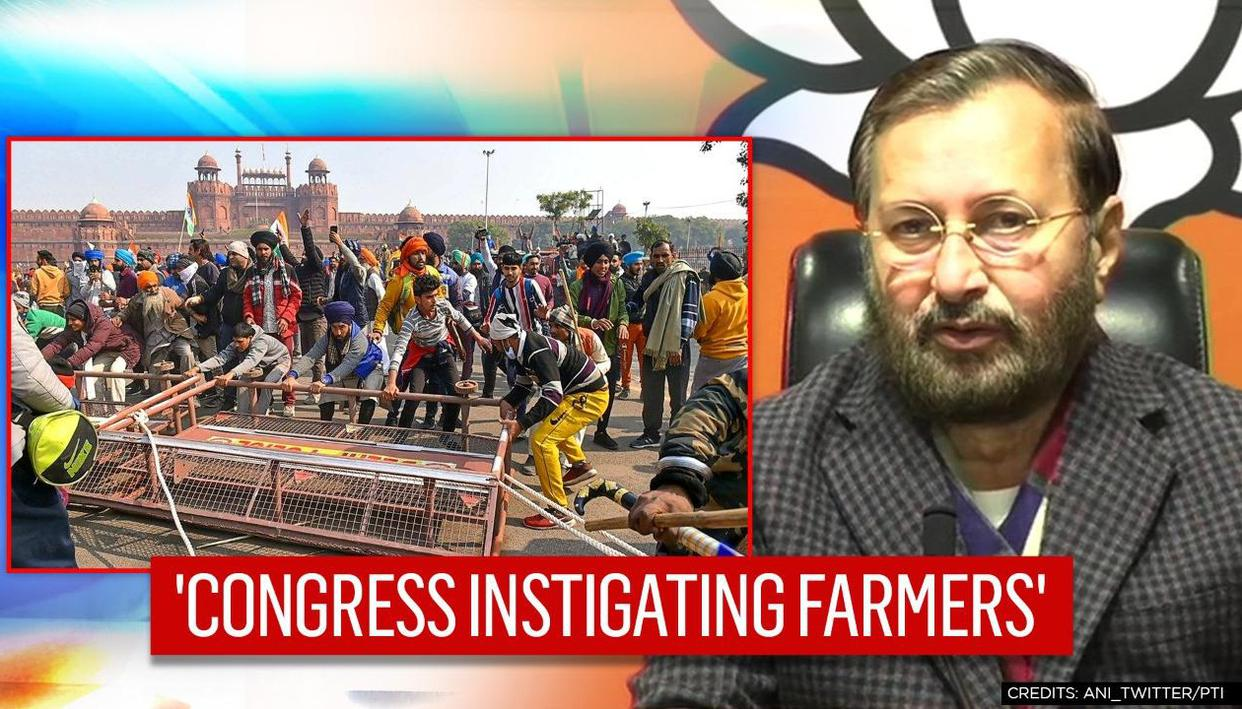 'Congress has repeatedly tried to instigate farmers': Javadekar on R-day violence in Delhi