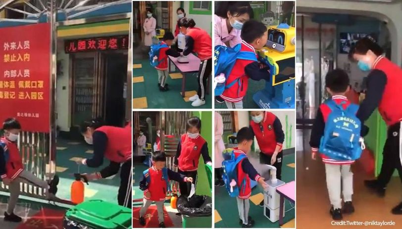 Video from China shows how coronavirus has changed daily routine in schools