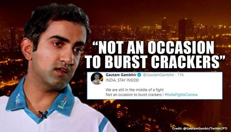 Gautam Gambhir expresses displeasure over crackers during '9 mins' act, netizens divided