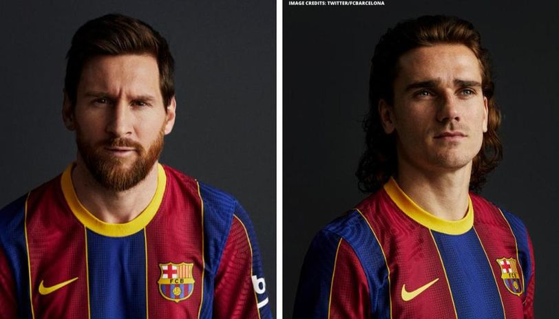 lionel messi shows off barcelona s new colours as club unveils new home kit for 2020 21 lionel messi shows off barcelona s new