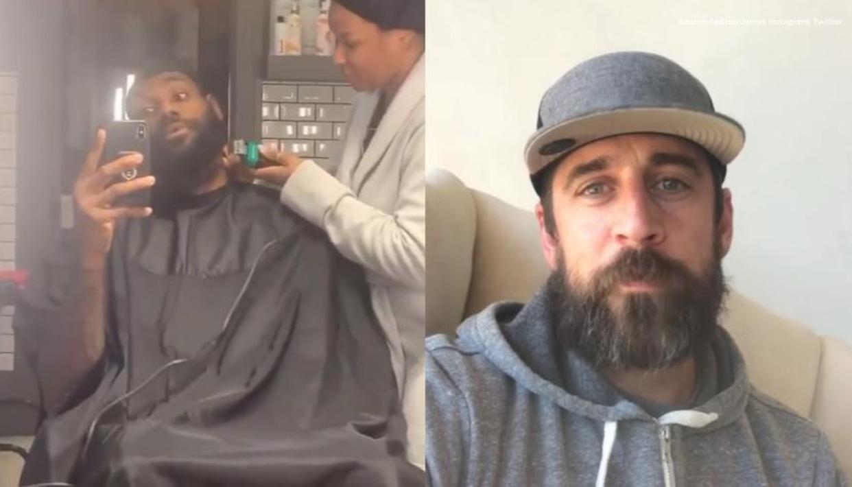 LeBron James, Aaron Rodgers quarantine beards still going strong amid COVID-19 pandemic - Republic World