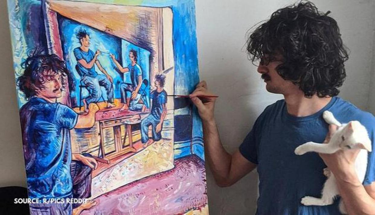 Artist Makes Self Portrait As He Paints Himself For The Fourth Time Netizens Cheer Him On