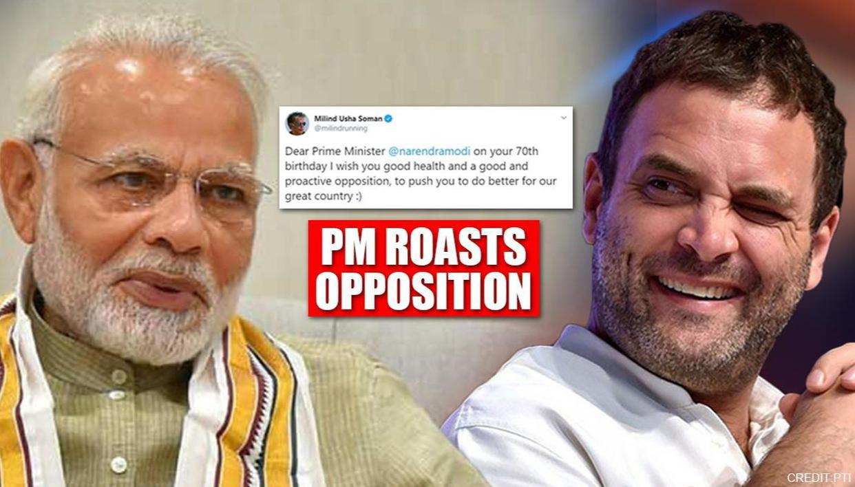 PM Modi roasts Opposition in 2 words as Milind Soman's B'day wish lays it on a platter - Republic World