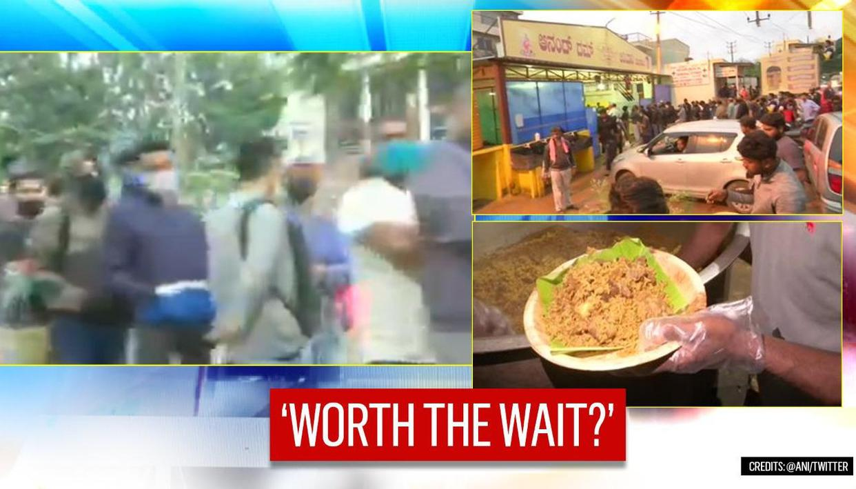 1.5km line for Karnataka Biryani eatery leaves Twitter divided; but 'it's too delicious'