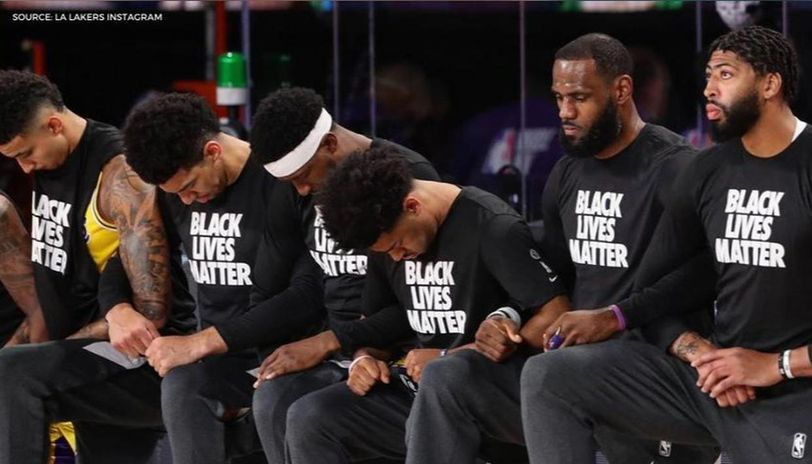 Lakers Clippers Kneel During National Anthem Ahead Of Their First Clash At Nba Bubble