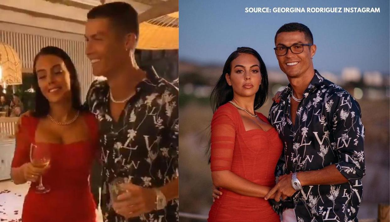 Cristiano Ronaldo Dances On Rose Petals With Georgina As She Shows Off Sapphire Ring Republic World