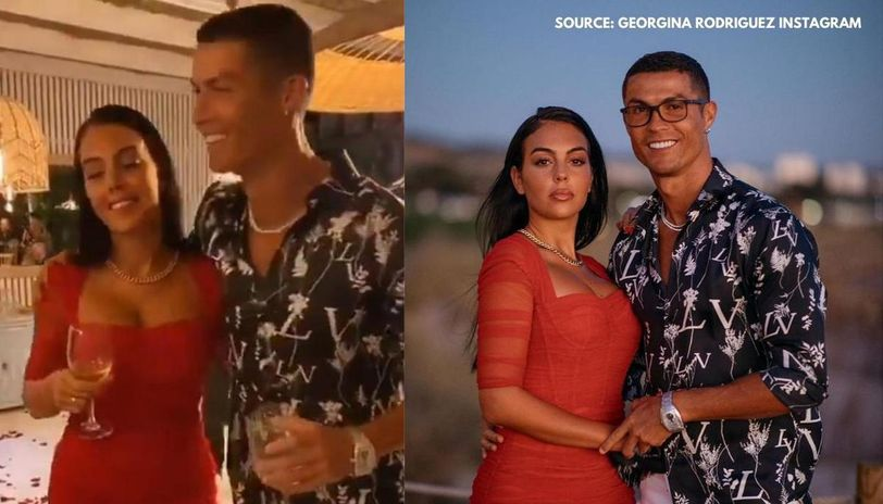 Cristiano Ronaldo Dances On Rose Petals With Georgina As She Shows Off Sapphire Ring