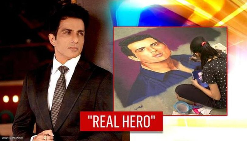 Sonu Sood gets special tribute as young girl makes rangoli; netizens hail 'national hero'