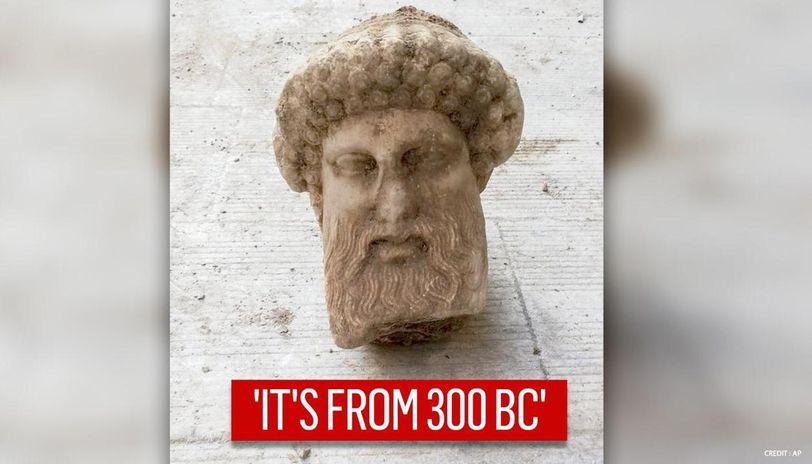 Bust of Greek God Hermes' sculpture found in Athen's sewage line