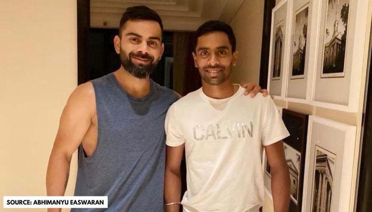 Abhimanyu Easwaran With Virat Kohli
