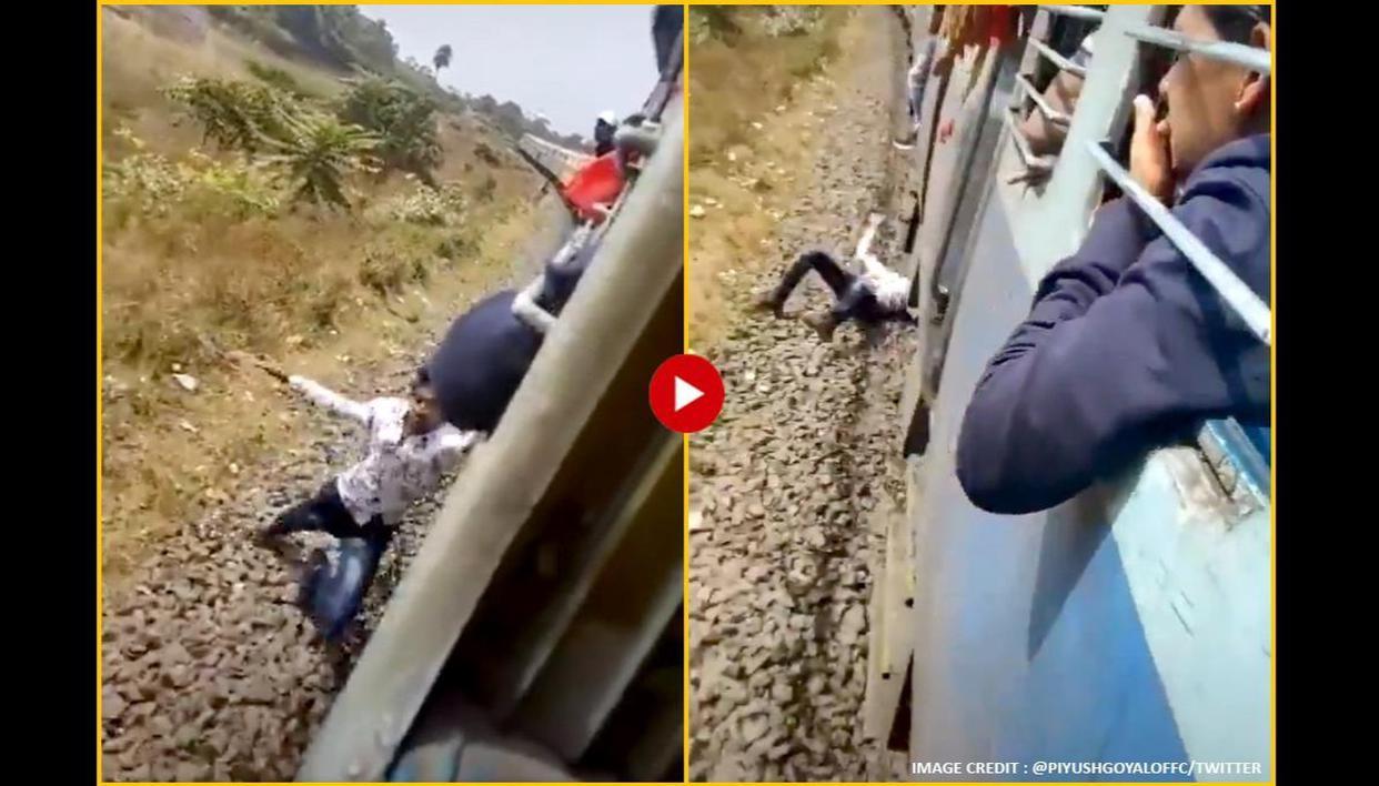 Piyush Goyal shares video of man falling off moving train, netizens demand action - Republic World