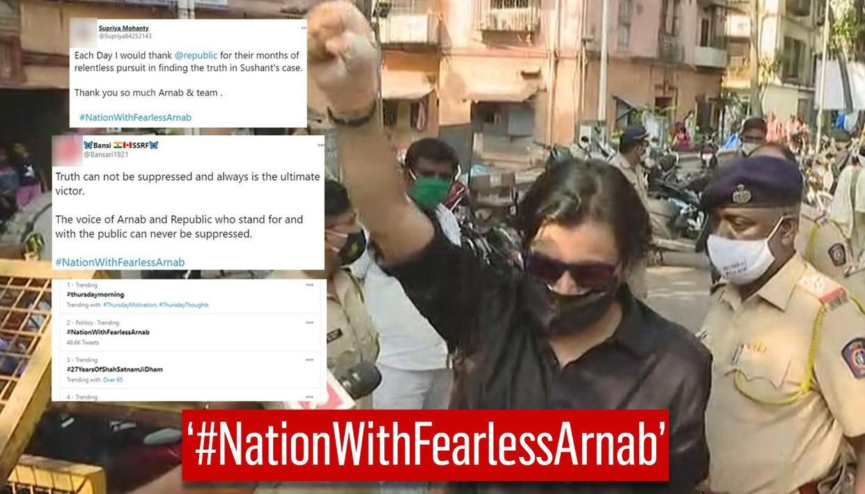 Arnab & Republic get giant wave of support online; netizens trend #NationWithFearlessArnab