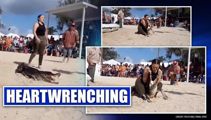 US woman puts head in alligator's mouth during wrestling match, video surfaces