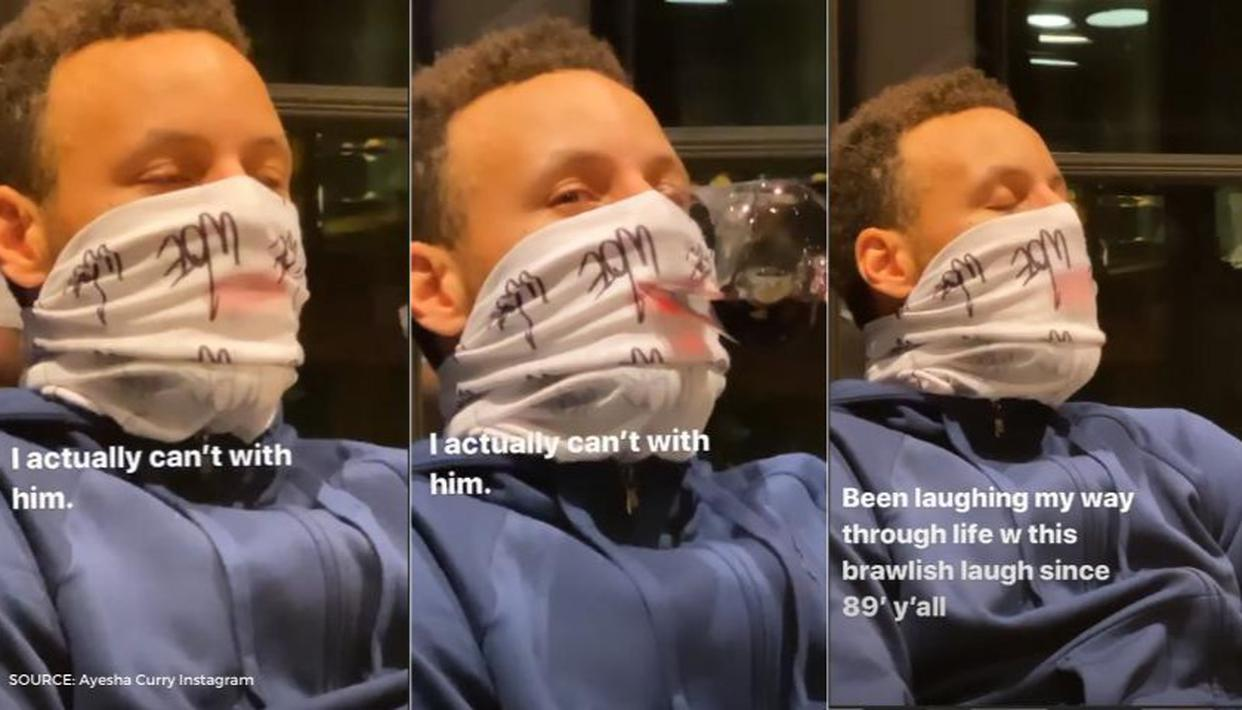 steph curry filmed drinking wine through his mask by