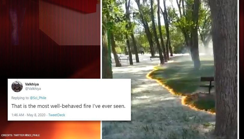 Spain: Mysterious fire burns without touching trees, grass. Watch