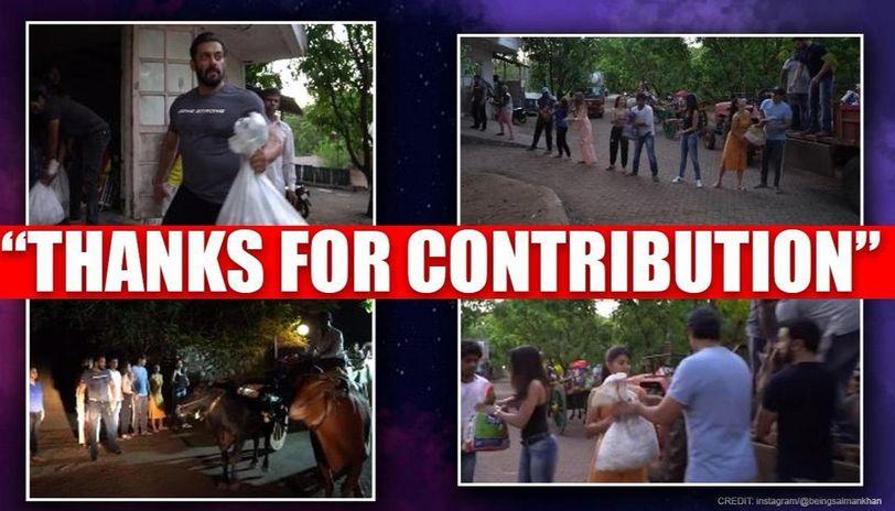 Salman Khan, Jacqueline, others' teamwork to put essentials in villagers' carts, watch