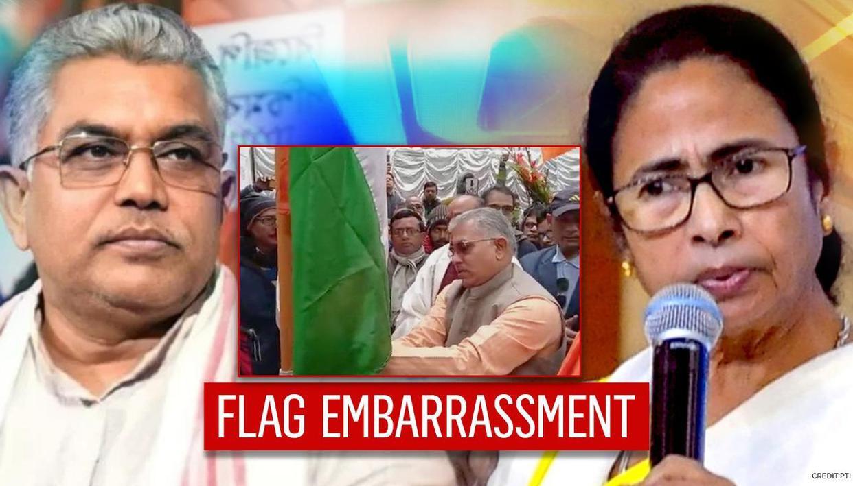 BJP's Dilip Ghosh hoists Tricolour upside-down; concedes embarrassment but TMC pounces