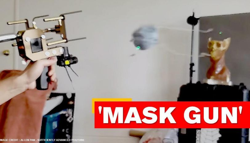 YouTuber creates gun that shoots face masks onto people's faces; watch video
