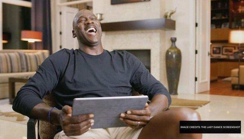 michael jordan laughing