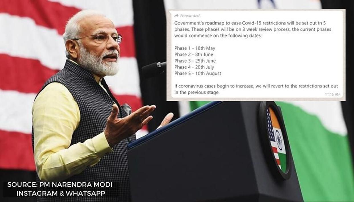 Fact Check Has Indian Government Shared 5 Phase Roadmap To Ease Covid 19 Lockdown