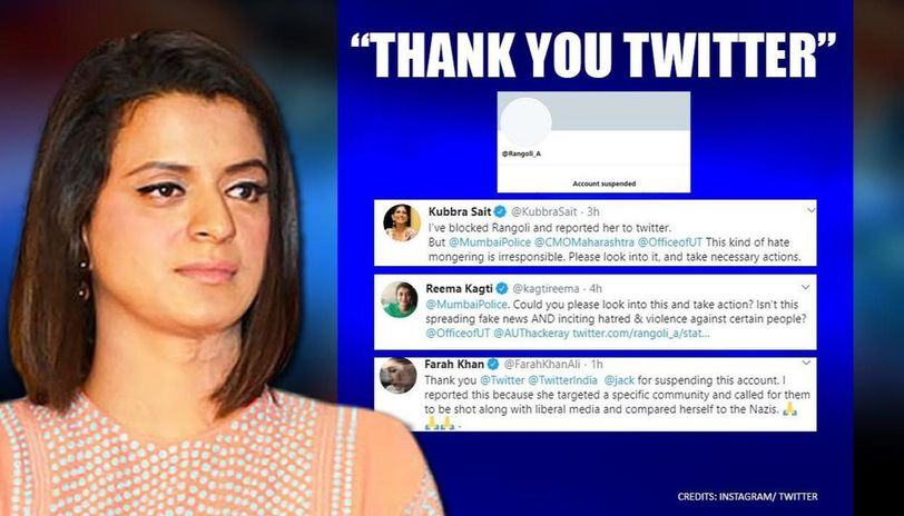 Rangoli Chandel's Twitter account suspended after celebrities flag controversial post