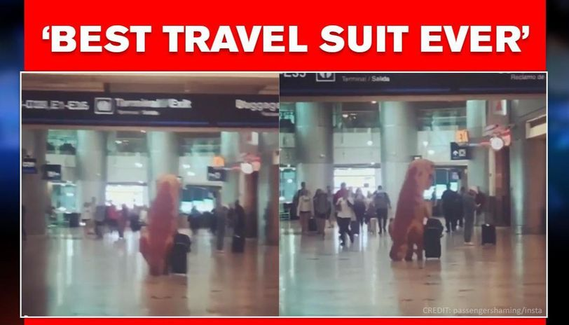 Man wears a dinosaur suit as hazmat suit, amid COVID-19 fear