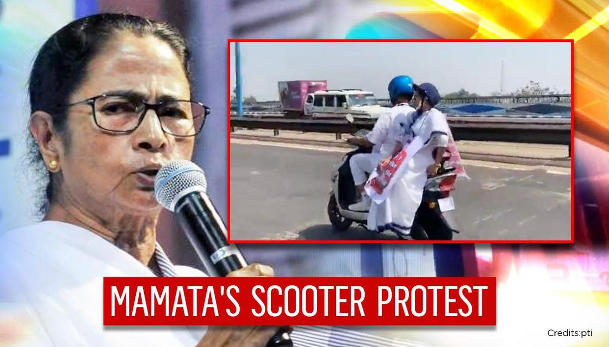 Mamata Banerjee rides electric scooter to Bengal secretariat in protest against fuel rates