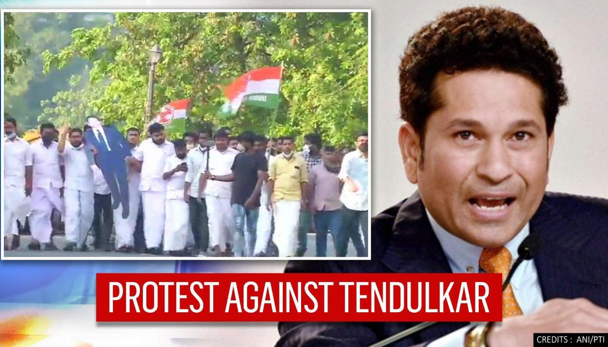Sachin Tendulkars poster smeared with oil by Youth Congress over 'India Together' Tweet - Republic TV