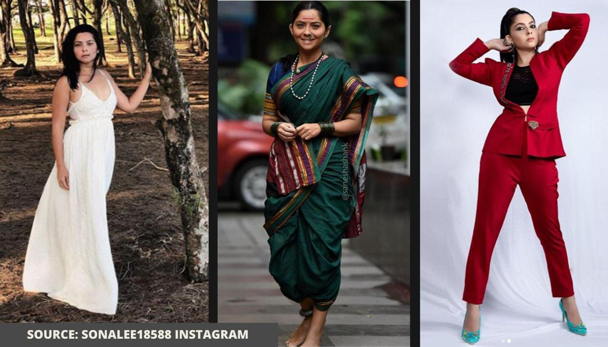From Nauvari saree to lacy mini-dress; Sonalee Kulkarni shows how to ace different styles - Republic World