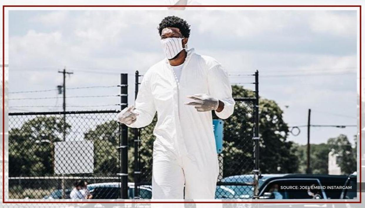 Joel Embiid wears hazmat suit en route to Orlando with Sixers, fans react with memes - Republic World