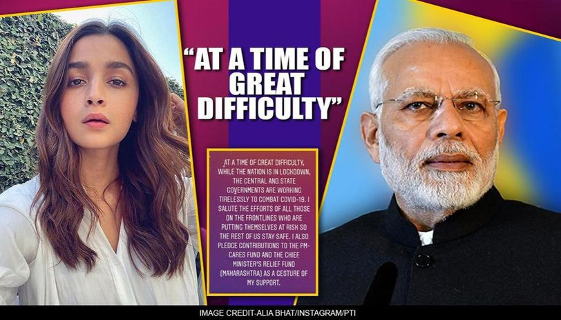 COVID-19: Alia Bhatt pledges contribution to PM-CARES, Maharashtra fund, hails frontliners