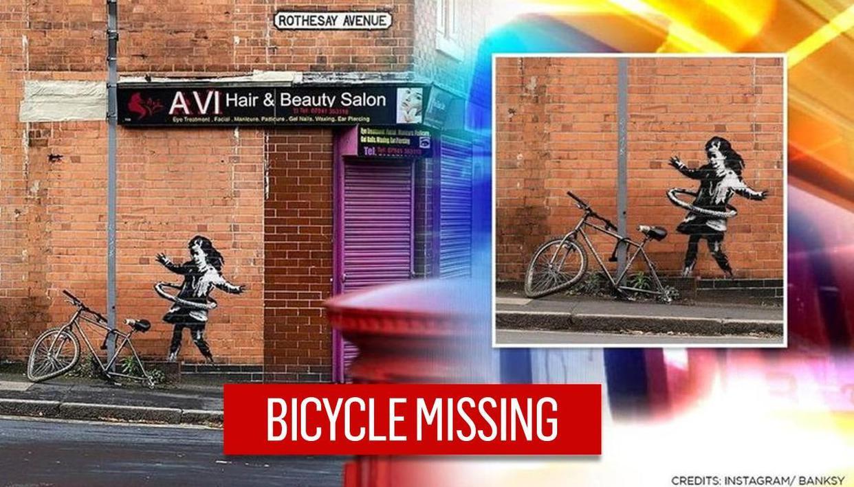 Banksy's Nottingham hula-hooping girl artwork 'ransacked', bicycle goes missing